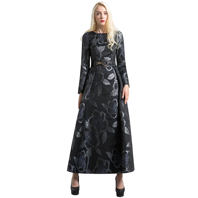 DF De Luxe Vintage Jacquard O-cou Automne Longue Robe de Soirée Formelle Robe Musulman Femmes Night Party Maxi Robes Longues 6442