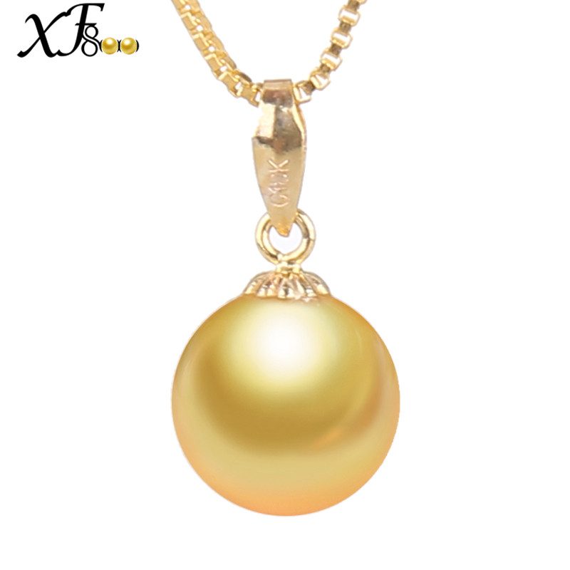 XF800 18K Gold Jewelry Natural South Sea Gold Pearl Pendant 9-12MM Pearl Jewelry Luxury Fine Wedding Party Gift For Women XFD219 nymph brand 18k 9 10mm pearl pendant necklaces for women yellow gold pearl fine jewelry gift party luxury lifestyle