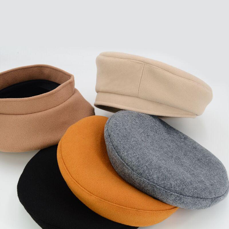 COKK Beret Female Winter Hats For Women Flat Cap Solid Color Wool ... 28f9328a228