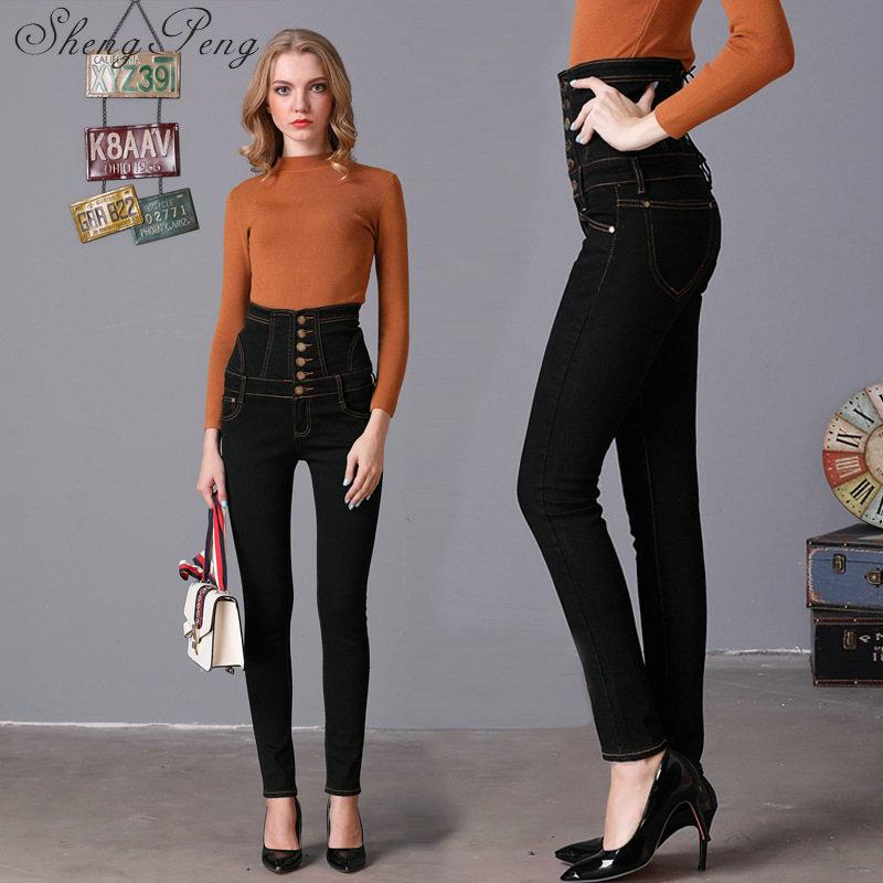 Boyfriend Vintage Fly De Cc439 Mujeres Alta 2 Lápiz Plaid Flaco 2018 Las Para Delgado Cintura Ripped Botón 1 Pantalones Jeans dqxwdg47
