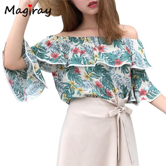 f583688db86b6 placeholder 2017 Casual Floral Green Leaf Print Tropical Ruffle Tops Women Blouses  Off Shoulder Slash Beach Shirts