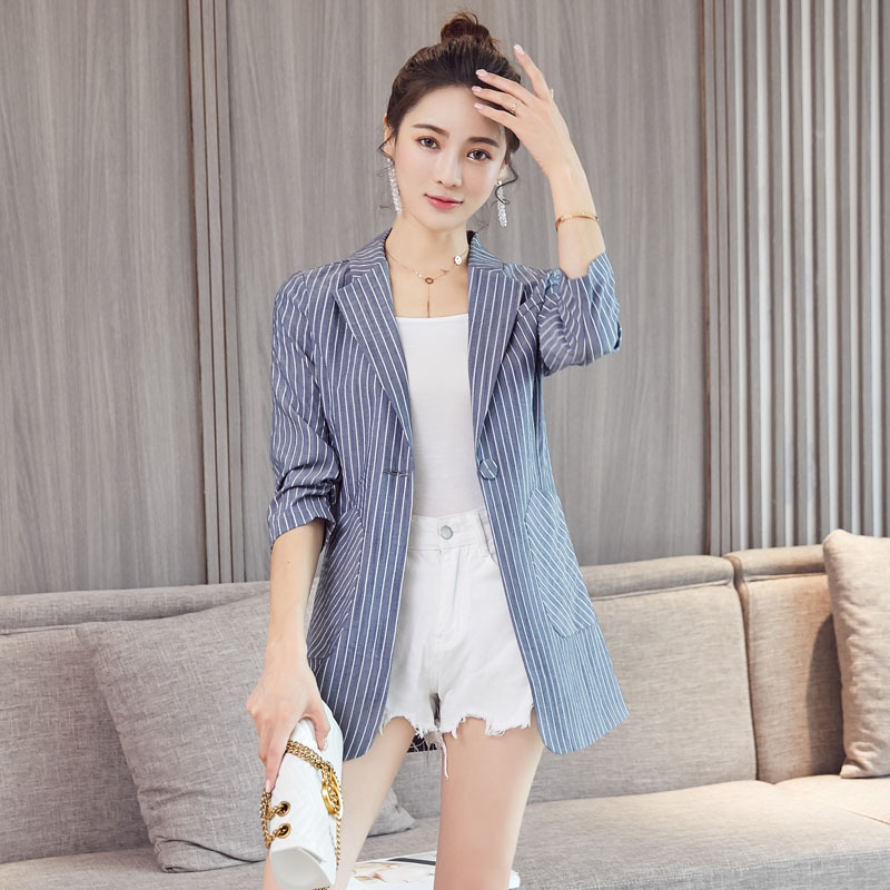 Ladies' Small Suit Jacket Summer New Style Fashion Temperament Commute Slim Seven-point Sleeves One Button Thin Striped Suit