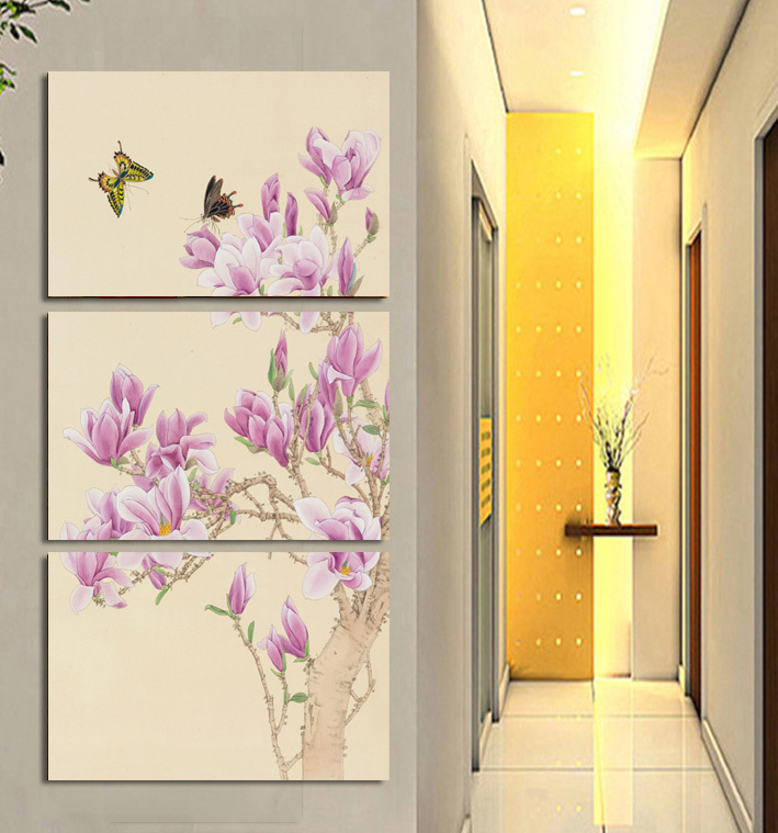 3 Panel Butterfly Orchid Oil Paintings Art Cheap Picture