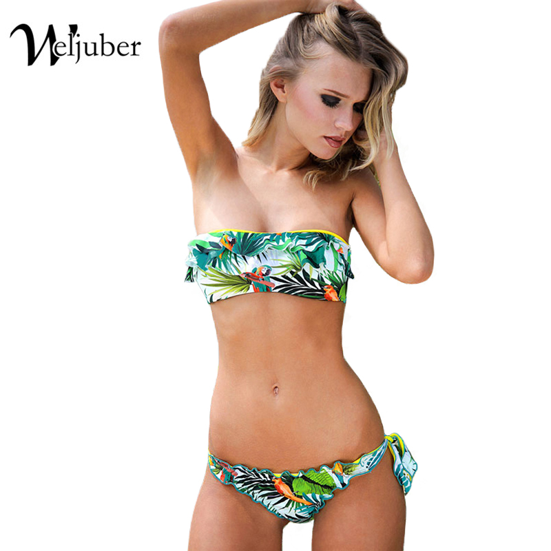 Women Bikini Set 2017 Swim Padded Print Bikinis Sexy Push Up Swimwear Female Swimsuit Bathing Suit Brazilian Bandage Biquini купить