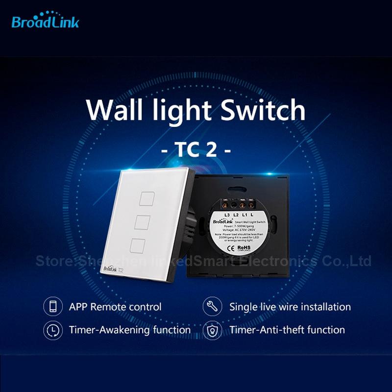 Broadlink TC2 EU 3gang Wall touch Light Switch AC170-250V  Luxury Crystal Glass