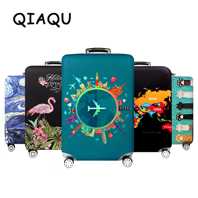 Thick Elastic World Map Luggage Protective Cover Zipper Suit For 18-32 Inch Bag Suitcase Covers Trolley Cover Travel Accessories