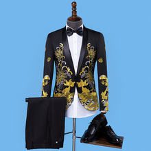 HOHO2018 new men dress MC groom wedding costume embroidery fashion suits two host garments