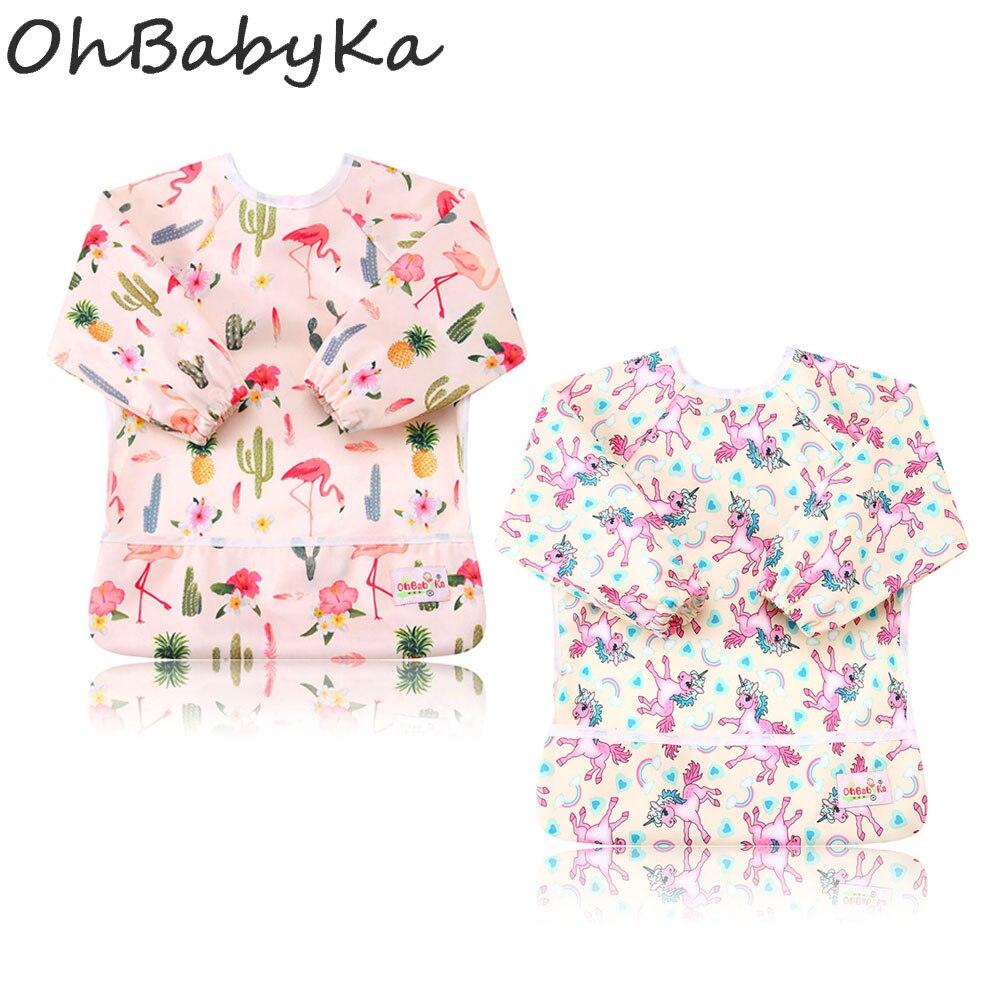 Ohbabyka Toddler Kids Waterproof Bib Long Sleeve Unicorn Flamingo Printed Baby Bibs with Pocket Feeding Bib Girl 2Pcs/Pack