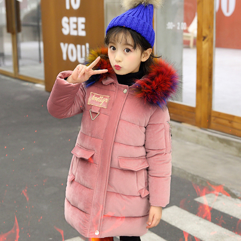 girl winter coat kids warm cotton-padded jacket teenage girls coats with fur collar hooded long thick jackets children clothing 2018 new girls winter padded coat kids girl thick cotton jacket hooded fur collar children padded embroidered warm outwear