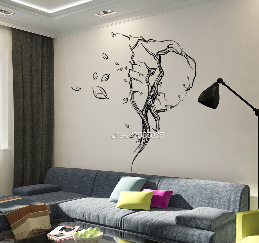 Abstract Elephant Head Leaves Animal Stickers Nontoxic PVC Wall Decals Removable High Quality Wallpaper Home Decor Mural SA873