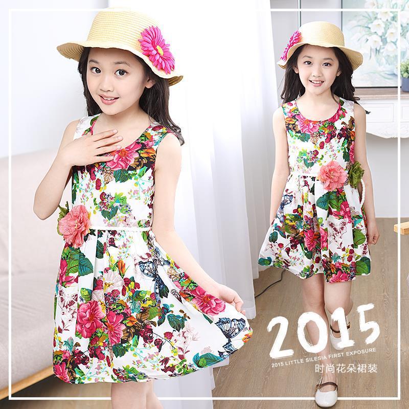 1247d1aa9 summer style little girls floral dresses linen sleeveless vest dress ...