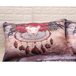 Image 4 - Deer Skull Bohemian Duvet Cover Set HD Print Skulls Bedding Set Twin Full Queen King Size 3PCS Bedding