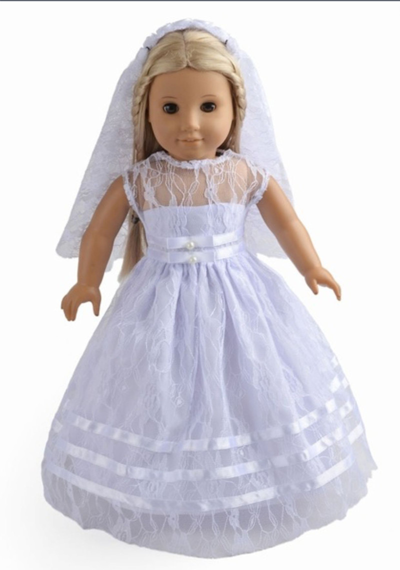 Free shipping 18 Inches American Girl Doll Clothes Wedding dress Accessories Handmade Evening dress 9 colors american girl doll dress 18 inch doll clothes and accessories dresses