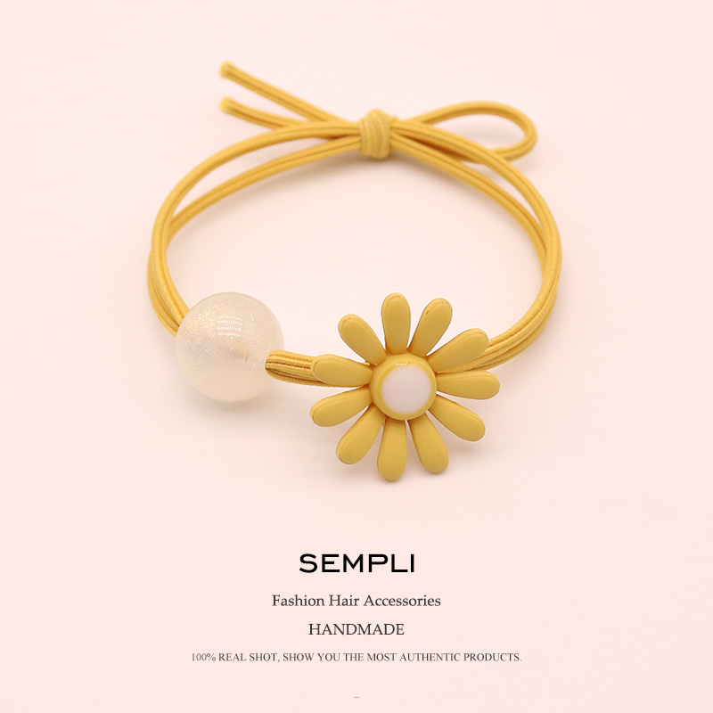 Sempli Candy Color Elastic Nylon Rubber For Girls Hair Band Kid Children High Elasticity Sunflower Transparent Beads Headwear