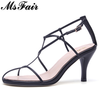 MsFair Round Toe Rome Sandals Shoes Woman Fashion Metal Buckle High Heels Sandals Women Shoes Summer Women Gladiator Sandals