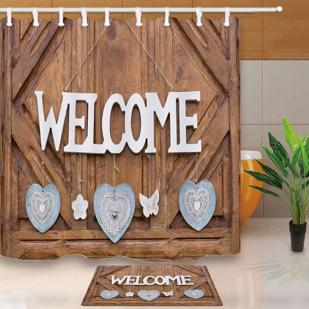 Rustic Wood Decor, Wooden Welcome Sign on Door Decorated Hearts Flowers and Butterfly Mildew Shower Curtain Set Floor Doormat