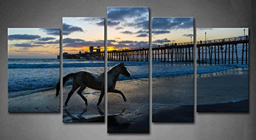 2017 5 Panel Wall Art Horse Running Beach Sunset Blue Water Painting Pictures Print Canvas Painting Unframed