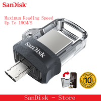 Sandisk 100% Original Mini USB 3.0 Dual OTG USB Flash Drive 16GB 32GB 64GB 128GB Pendrives For Android Phone 10 Years Warranty