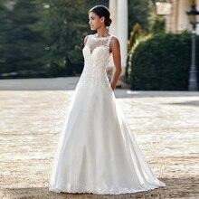 Illusion Sabrina A lijn Tulle Trouwjurk met Kant Applicaties Mouwloze V back Sweep Train Bridal Jurken vestido branco