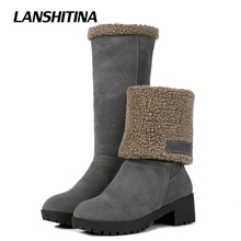 Women Middle Boot Two Wear Winter Warm Boat Flat Half Boots Female Snowshoe Warm Boots Fashion Round Toe Bota Shoes G103
