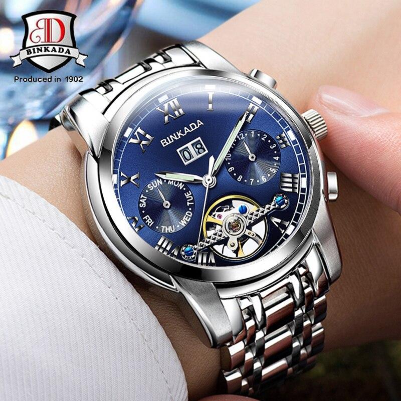 TOP Marque Mécanique Montres Tourbillon Mâle Horloge Bracelet En Acier Auto-vent Automatique Montres De Luxe Hommes Relogio Masculino
