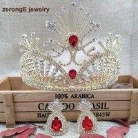4.1 polegadas noiva Do Vintage jóias banhado a Ouro de Strass Vermelho coroa de noiva acessórios do cabelo do casamento coroas e tiaras com brinco