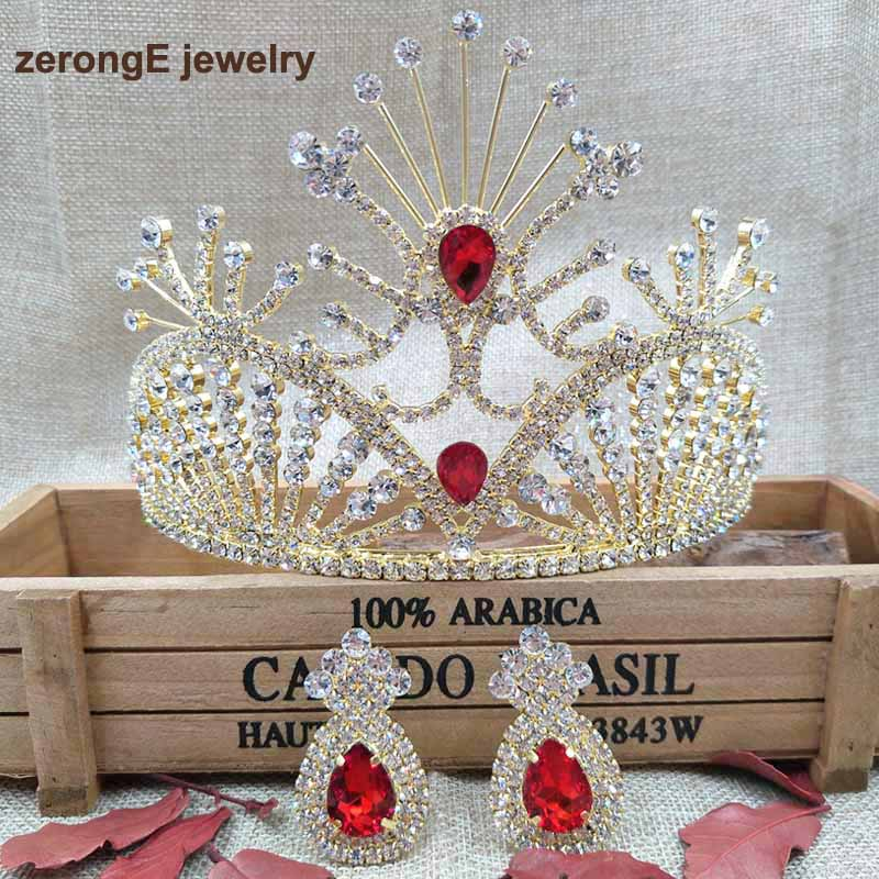4.1inch Vintage bride jewelry Gold plated Red Rhinestone crown bridal hair accessories wedding crowns and tiaras with earring