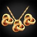 Conjunto de joyas Para la Mujer Moda Cubic Zirconia Chapado En Oro Aretes Y Collar de la Joyería Nupcial Conjunto PE1617