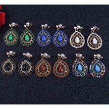 7db9184f5075 Nuevo Partido 6 color Bijoux Bohemia declaración cristal Clip en pendientes  sin Piercing Boho turco Vintage joyería étnica