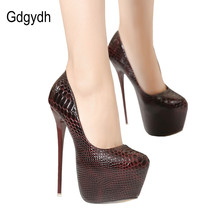 Gdgydh New Ladies Sexy Thin High Heels Snakeskin Pumps Casual Female Round Toe Platform Single Shoes Women Wedding Party Shoes