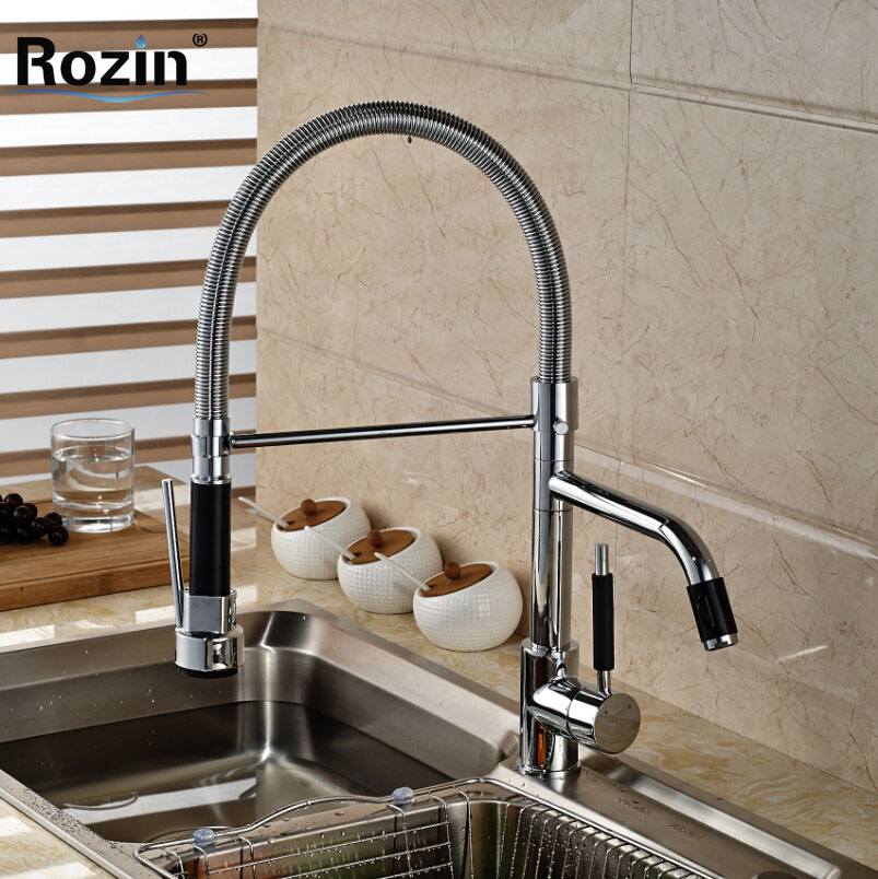 Chrome Pull Down Kitchen Faucet Deck Mount Rotation