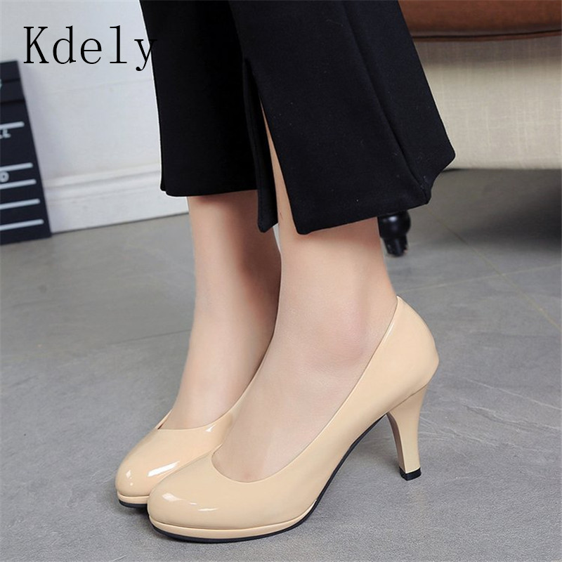 Ladies Shoes Black Pumps Patent Leather Low Heel Shoe Nude Office Shoes Elegant Women Wedding Party Shoes Big Size 34-42(China)