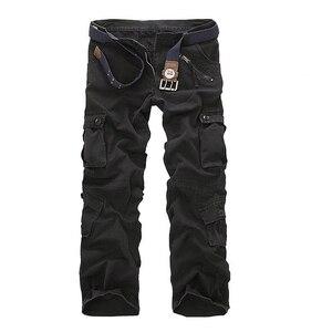 Image 3 - Erkek Çok Cep Rahat Kamuflaj Pantolon Erkekler Askeri Kargo Pantolon Yıkanmış Pantolon Gevşek Pantolon Erkekler Için Yeni Varış