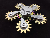 New Fidget Spiner 6 Gear Hand Spinner EDC Metal Spinner Skull Luminous Spinner Light In Dark