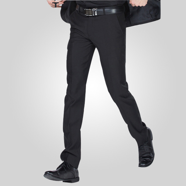 Size 29 40 Wrinkle Free Wedding Black Mens Formal Pants Office Workwear Casual Men Suit