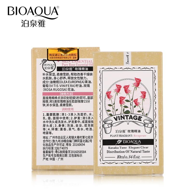 BIOAQUA Brand Pure Rose Essential Oil Liquid Plant Fragrance Moisturizing Perfume Face Body Skin Care Massage Essential Oil 10ml