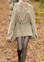 Luxury WOOL Knit CAPE DRESS RUFFLED HEM BUTTON UP BACK MINI STRIPED KNITTED DRESS