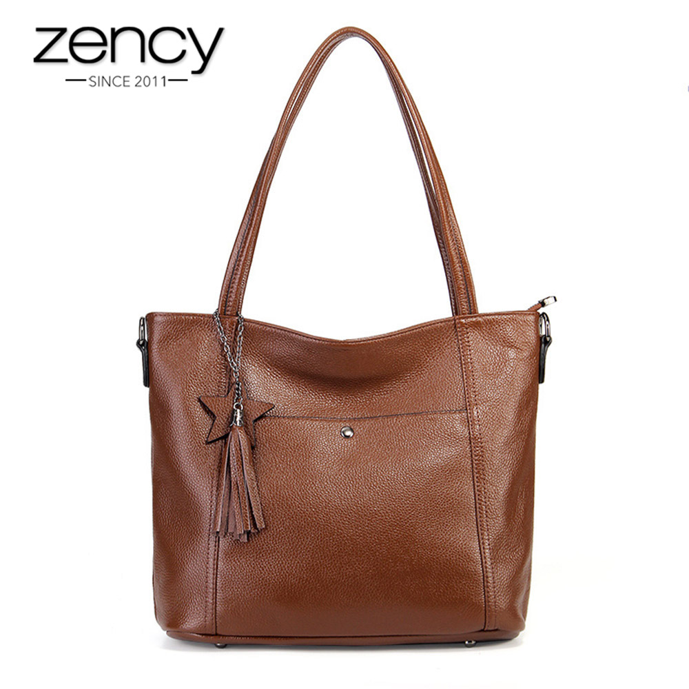 Zency New Arrivals Fashion Women Shoulder Bag 100 Genuine Leather Handbag With Tassel Simple Crossbody Messenger