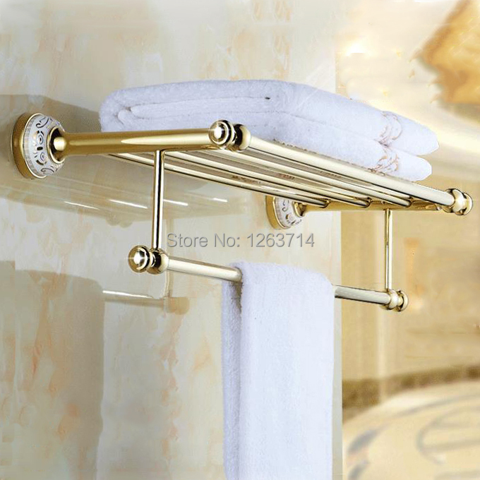 Towel Racks Wall Mounted Towel Shelf Brass Finish Double Bathroom Accessories Bath Towel Holder Gold-plating Retro HJ-1913K whole brass blackend antique ceramic bath towel rack bathroom towel shelf bathroom towel holder antique black double towel shelf