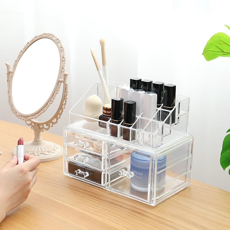 Organisateurs de tiroirs coréens organisateurs de maquillage multi-grille boîte en plastique boîte transparente conteneur de rangement étui de rouge à lèvres boîte à bibelots