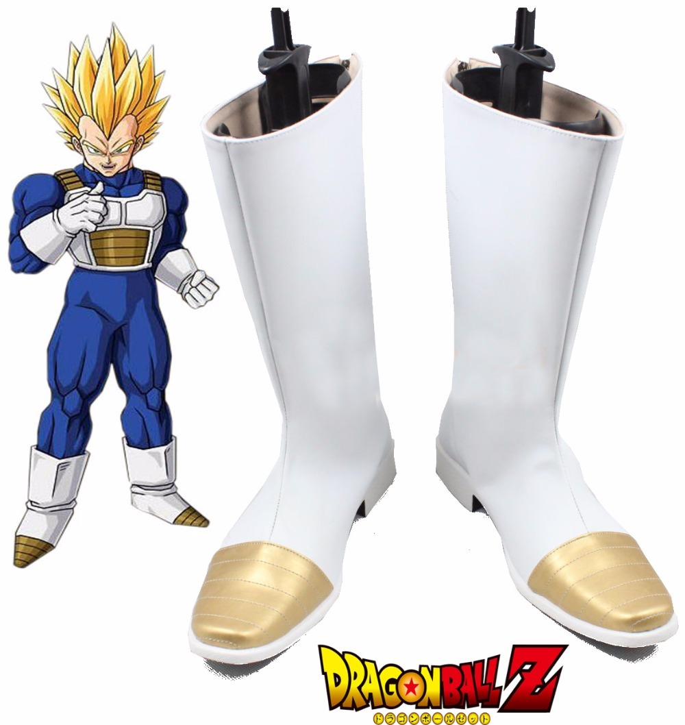 Dragon Ball Z Vegeta White Long Boots Super Saiyan Son Goku Cosplay shoes  Halloween Custom Made de325cd680