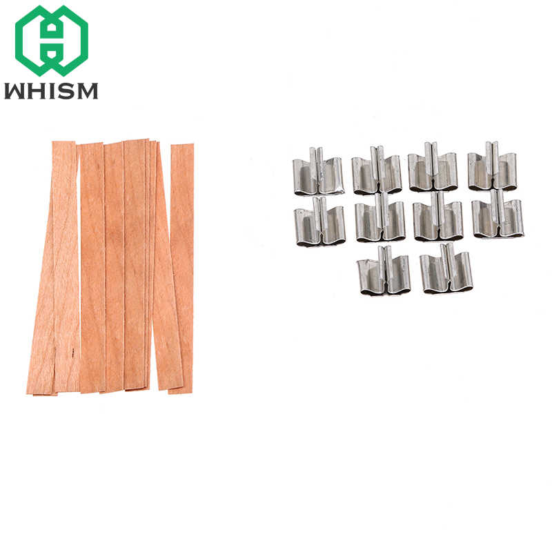 WHISM 10PCS Handmade Wood Wicks DIY Making Supplies Wooden Wax Sustainers Core with Metal Stand Home Decor