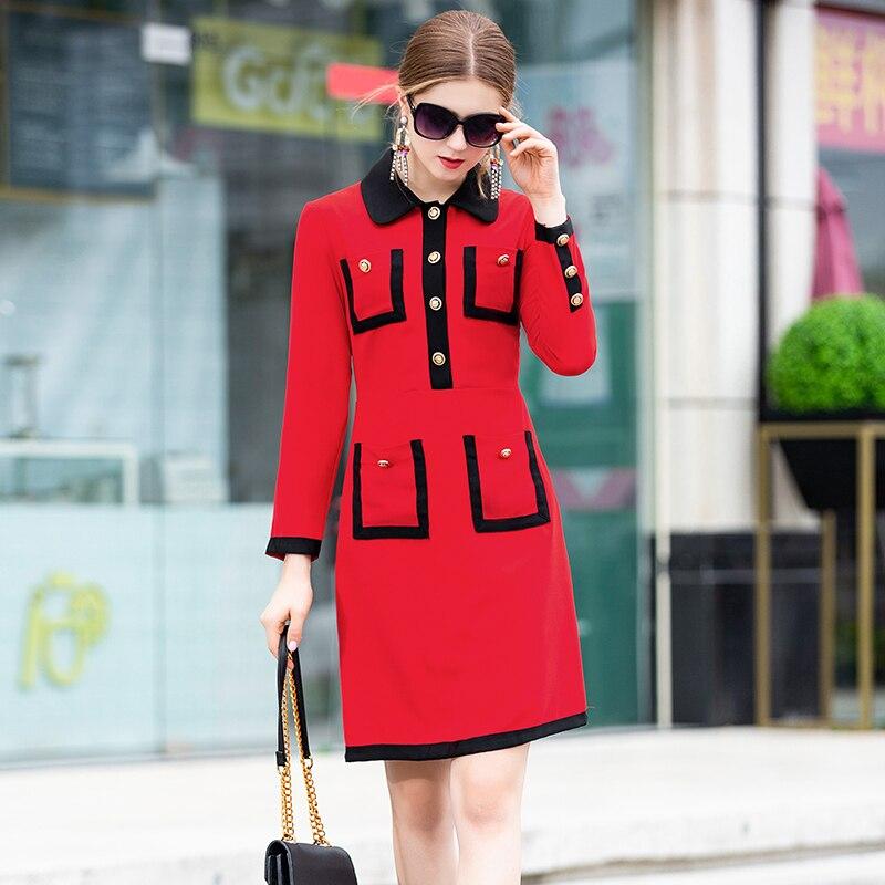 dessus Du Femelle Genou Rouge Mode Robe Jolie Mini 2019 Col Poches Turn Haute down Complet Printemps Qualité Manches T1Oxpq7fW