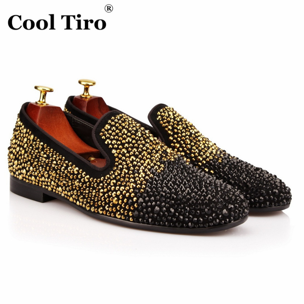 COOL TIRO New Luxury rhinestone handmade Black gold gradient mix loafers wedding party European Style smoking slipper men shoes