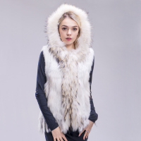 FXFURS new Free shipping women real natural rabbit vest fur with raccoon fur hooded collar trimming waistcoat knitted genuine
