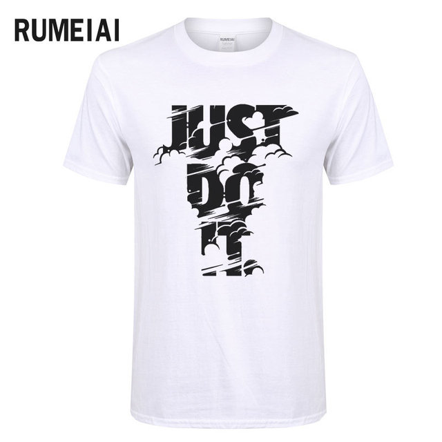 RUMEIAI 2018 High quality Brand Men T shirt Casual Short sleeve O-neck Fashion Printed Cotton T-shirt Men Just Do It Tee Shirt 4