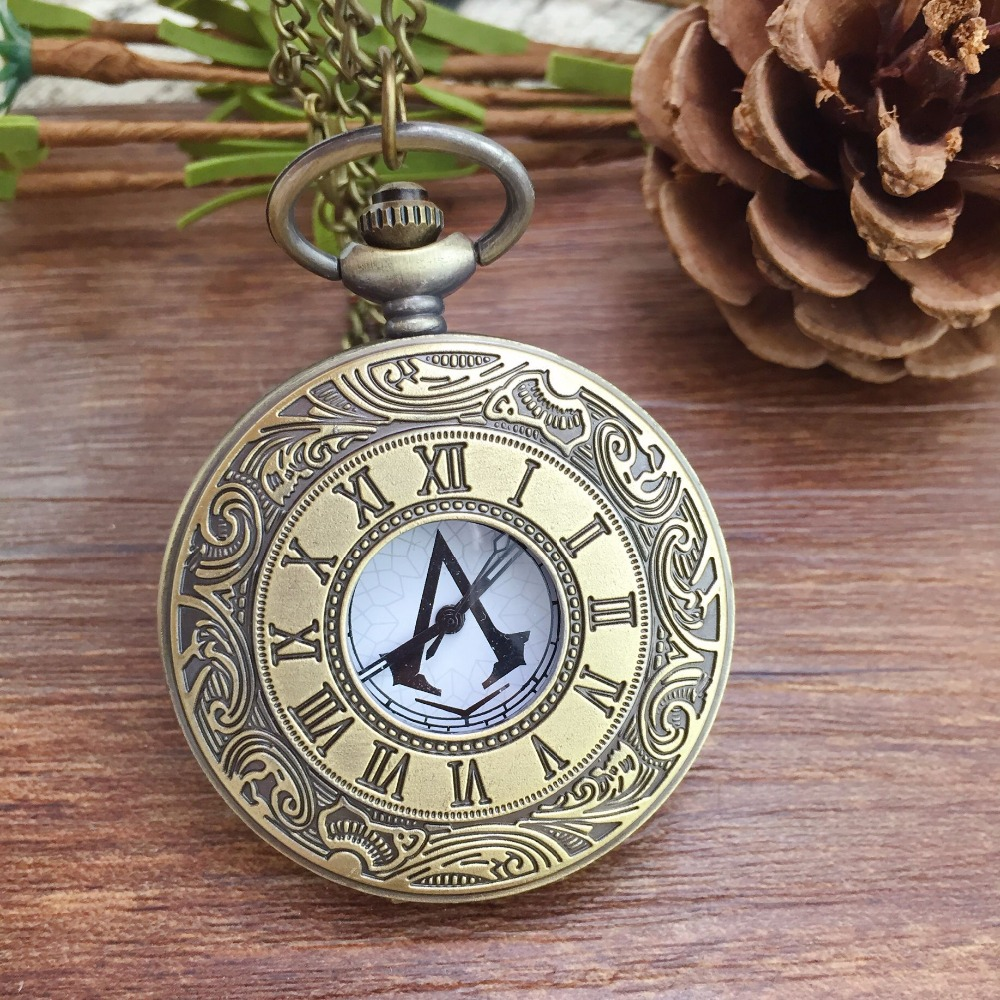 Hot Sale  Assassins Creed Steampunk Pocket Watch Quartz Necklace Pocket Fob Watches Chain Men Women Clock