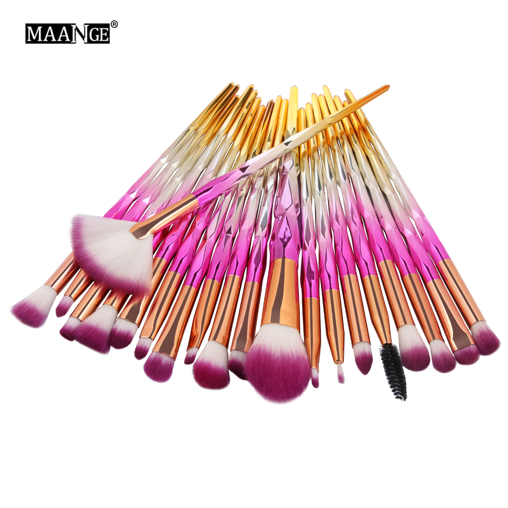 MAANGE 10/20Pcs Makeup Brushes Set Diamond Powder Eye Shadow Foundation Concealer Blush Lip Cosmetics Make Up Beauty Brush Tool 7pcs makeup brush set professional face eye shadow eyeliner foundation blush lip make up brushes powder liquid cream cosmetics