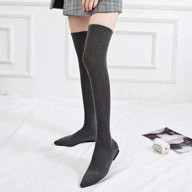 COVOYYAR 2019 chaussettes extensibles bottes femmes Slim élastique tricoté longue cuisse bottes bout pointu plat noir chaussures femmes WBS1017