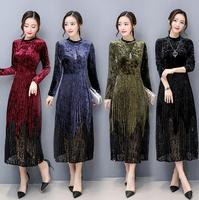 HXYZ Elegant Lace Dresses Women's Dresses A line Pleated Vintage Dress Long Sleeve Velvet Lace Patchwork Dress Plus Size XXXXL